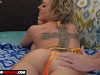 Naughty America - Dee Williams gets oiled up before banging her son's frien