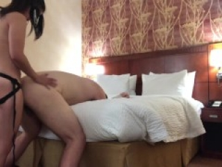 Pegging him with her Vibrating Strapon (Intense Orgasm)