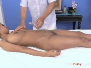 Thai babe with huge tits massaged then fucked